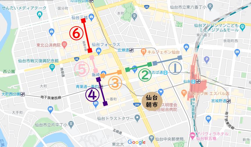 仙台駅前アーケード街マップ